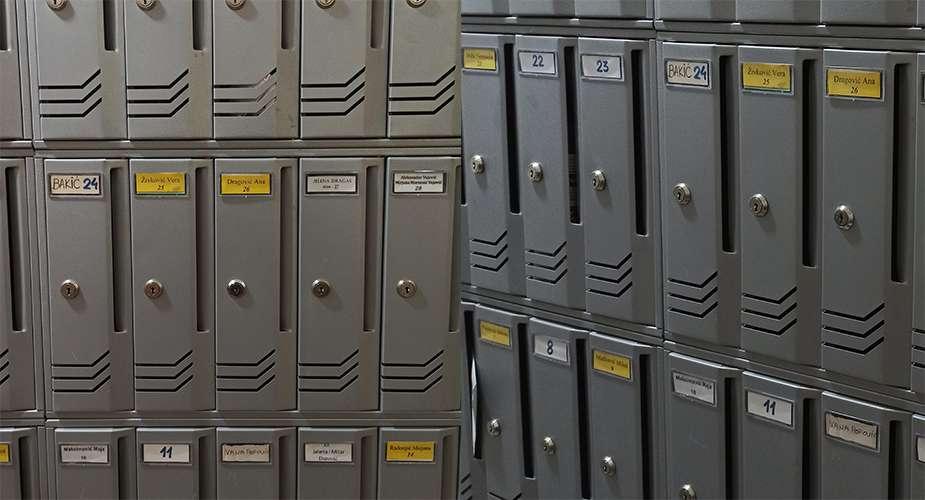 primjer loših natpisa na poštanskim sandučićima u ulazima zgrada